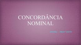 AULA 17 - CONCORDÃ'NCIA NOMINAL