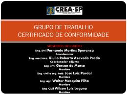 grupo de trabalho certificado de conformidade - Crea-SP