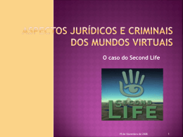 SECOND LIFE - Asp. Jur. e Crim.