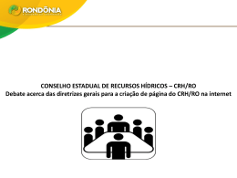 CONSELHO ESTADUAL DE RECURSOS HÍDRICOS – CRH/RO