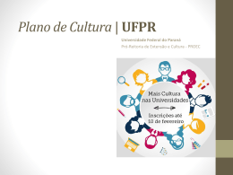 Plano de Cultura - SACI - Universidade Federal do Paraná