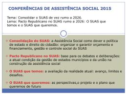 CONFERÊNCIA DE ASSISTÊNCIA SOCIAL 2015