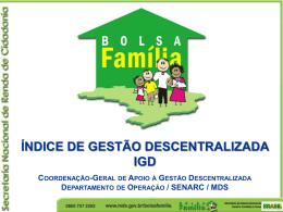 Índice de Gestão Descentralizada IGD - COGEMAS-PR