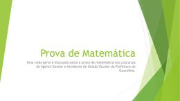 Prova de Matemática – Aula 1 – apresentação