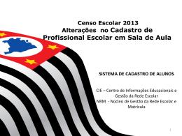 Censo 2013 Cadastro de Profissional Escolar em Sala de Aula
