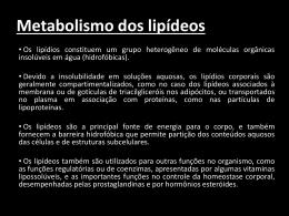 Metabolismo dos lipídeos - Universidade Castelo Branco
