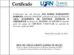 Certificado PROF. DR. CARLOS ALBERTO ALMEIDA DE ARAUJO
