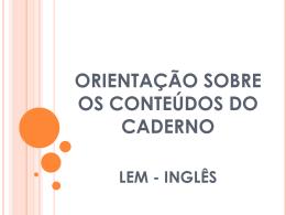 Workshop - Trabalho Sobre Caderno do Professor/Aluno (Inglês)