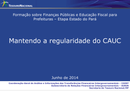 Mantendo a regularidade do CAUC