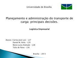 Grupo G - Planejamento e Administração do Transporte