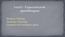 Level 1 - Expectativas de aprendizagem