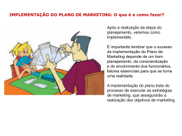 IMPLEMENTAÇÃO DO PLANO DE MARKETING: Exemplo