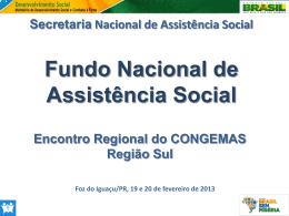 Fundo Nacional de Assistência Social - FNAS - COGEMAS-PR