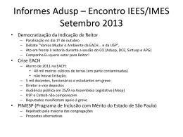 Informes Adusp * Encontro IEES/IMES Setembro 2013