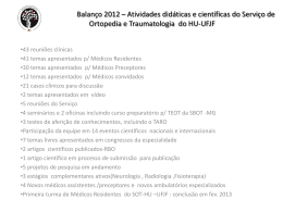 Balanço 2012 * Atividades didáticas e científicas do Serviço de