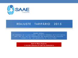 Reajuste Tarifário 2015 - SAAE