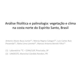 Análise fitolítica e palinologia: vegetação e clima na costa norte do
