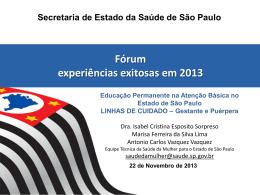 Fórum experiências exitosas em 2012
