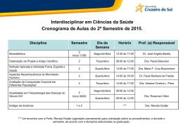 Interdisciplinar em Ciências da Saúde Cronograma de Aulas do 2º