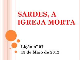 Lição nº 07 – SARDES, A IGREJA MORTA