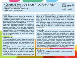 Criptografia RSA e números primos Jean Carlo Baena
