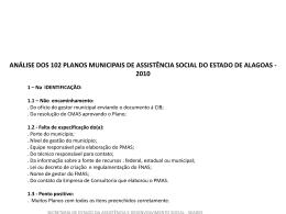 ANÁLISE DOS PLANOS MUNICIPAIS DE ASSISTÊNCIA SOCIAL