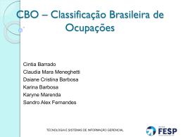 CBO – Classificação Brasileira de Ocupações[1]