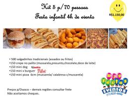 Kit 5 festa infantil 70 pessoas