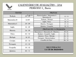 CALENDÁRIO DE AVALIAÇÕES – 2014 PERÍODO 3_ Barra