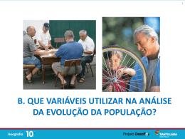 Variáveis a utilizar na análise da evolução da população
