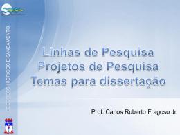 Linhas, projetos e temas de pesquisa - Prof. Ruberto