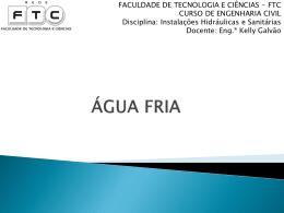Aula 3 – Agua Fria_Dimensionamento