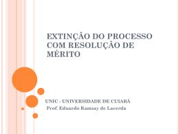 EXTINCAO DO PROCESSO COM RESOLUCAO DE