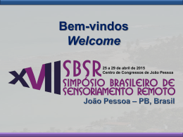 Bem-vindos ao XVII SBSR Welcome to XVII