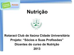 Palestra Nutrição - Rotaract Club de Itaúna – Cidade Universitária