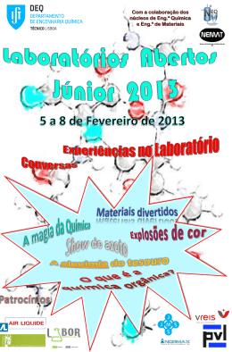 Cartaz LabAbertos Júnior 2013. Experiências no Laboratório.
