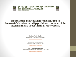 Institutional innovation for the solution to Amazonia*s