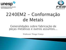 Generalidades sobre fabricação de peças metálicas