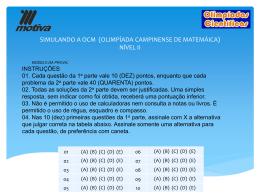 SIMULANDO A OCM (OLIMPÍADA CAMPINENSE DE MATEMÁICA)