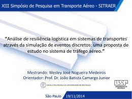 Análise de resiliência logística em sistemas de transportes através