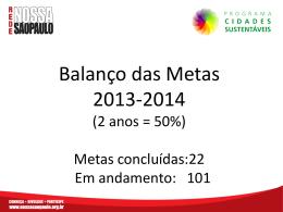 Balanço de Metas 2013/2014