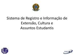 Sistema de Registro e Informação de Extensão, Cultura e Assuntos