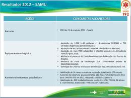 Resultado 2012 – SAMU