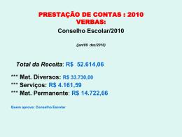 PRESTAÇÃO DE CONTAS - DATA SHOW.2010