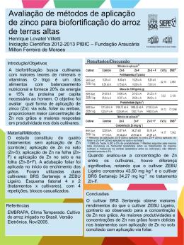Avaliação de métodos de aplicação de zinco para