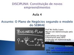 Resumo descritivo dos principais pontos do plano de negócio
