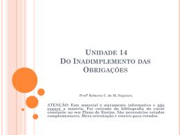Unidade 14 Do Inadimplemento das Obrigações