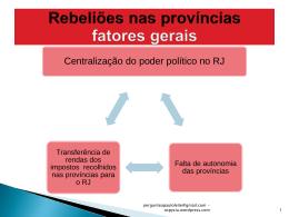 PERÍODO REGENCIAL – Rebeliões nas províncias