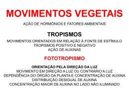 MOVIMENTOS VEGETAIS E FOTOPERIODISMO