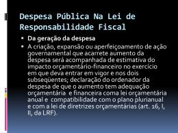 Despesa Pública Na Lei de Responsabilidade Fiscal